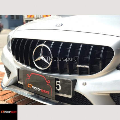 Mercedes Benz W205 Installed GT Grille Full Black and C63 Diffuser with Titanium Tail Pipe