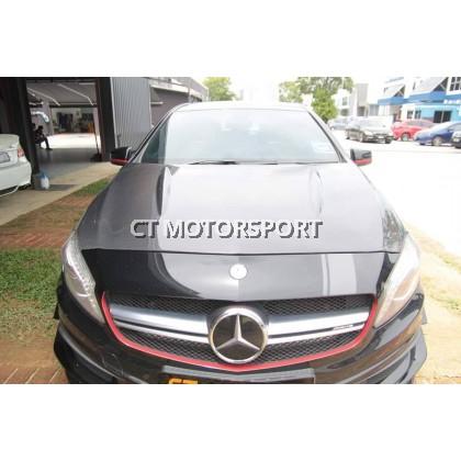 Mercedes A200 A250 A45 W176 Installed Revozport Style Carbon Bonnet Hood