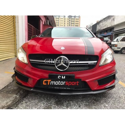 Mercedes Benz A200 A250 A45 W176 Installed AMG Style Carbon Fiber Front Lip